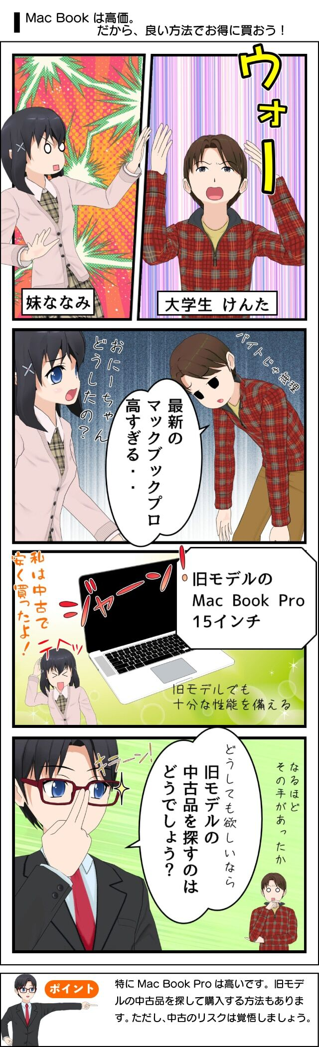 Macbookproは旧モデルでも十分な性能で、安く買えるよ