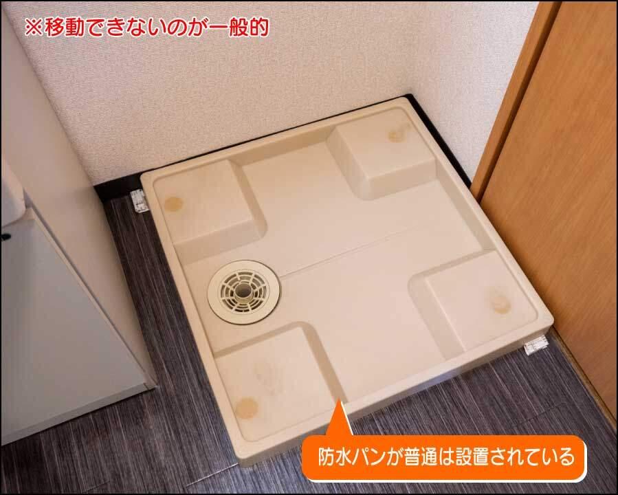 洗濯機の防水パン。一人暮らし用のアパートでは小さいものが設置されていることが多い。